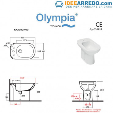 misure bidet monoforo Rubino Olympia Ceramica