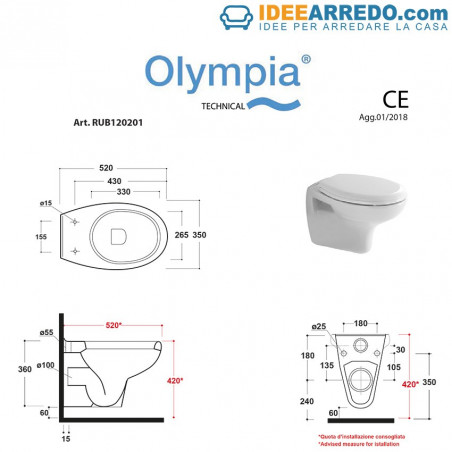 Dimensions des toilettes suspendues Rubino
