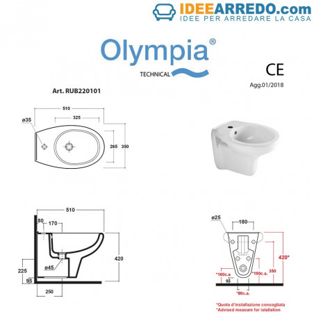 bidet suspendu mesure Rubino Olympia Ceramica