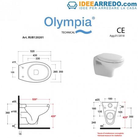 Sanitaires suspendus bon marché Rubino Olympia Ceramica