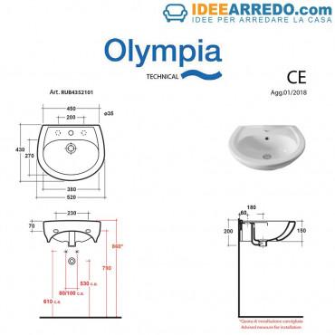 Lavandino bagno piccolo Rubino 52 Olympia Ceramica