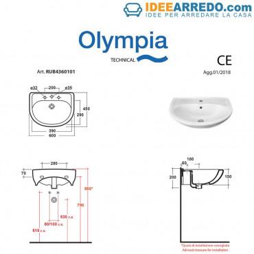 Rubino 60 washbasin measures