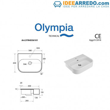 Semi-recessed washbasin Synthesis Olympia Ceramica