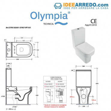 back to wall sanitary ware measures Synthesis Olympia Ceramica
