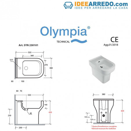 back to wall sanitary ware technical sheet Synthesis Olympia ceramica