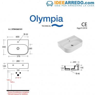 Lavabo appoggio/sospeso 60 Synthesis Olympia Ceramica