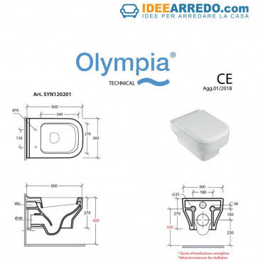 suspended sanitary data sheets Synthesis Olympia Ceramica