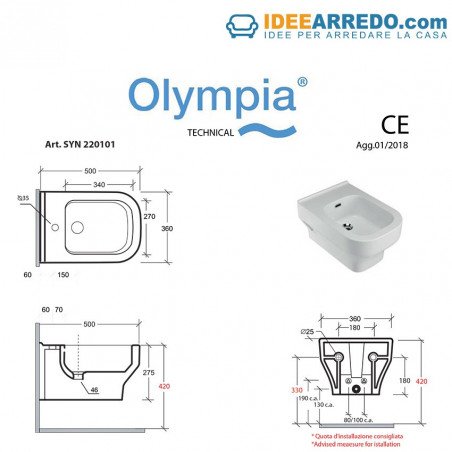 misure wc e bidet Synthesis Olympia Ceramica