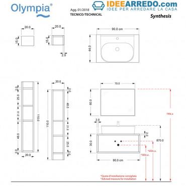Mobile sospeso per lavabo con cassettone frontale Olympia Ceramica