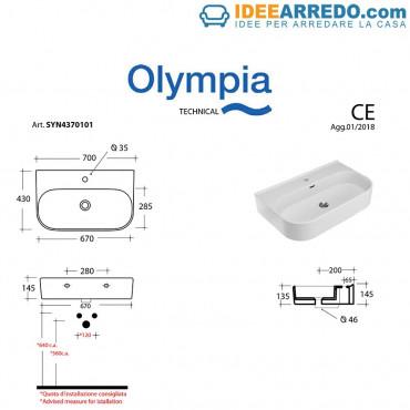 Lavabo sospeso bagno / d'appoggio / su colonna Synthesis 70 Olympia