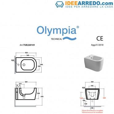 medidas bidé suspendido Olympia Ceramica