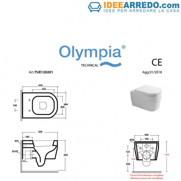 Olympia Ceramica Tutto Evo wall hung wc technical sheet