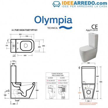 monobloc toilet with floor or wall drainage Tutto Evo Olympia Ceramica