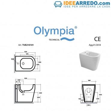 dos au mur bidet mesure Tutto Evo Olympia Ceramica
