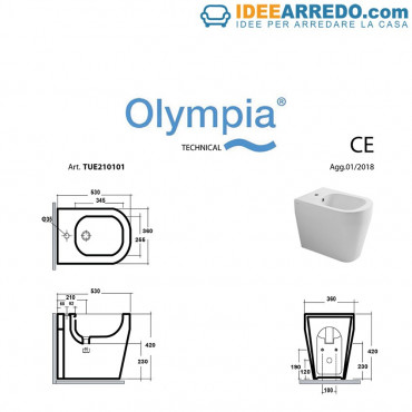 back to wall bidet measures Tutto Evo Olympia Ceramica