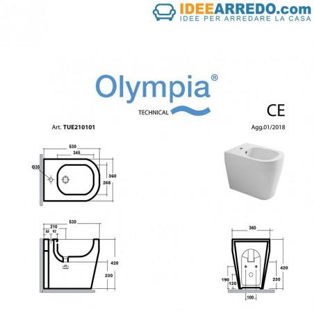 bidet filo muro misure Tutto Evo Olympia Ceramica