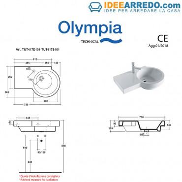 dimensions évier suspendu Tutto Evo Olympia ceramica