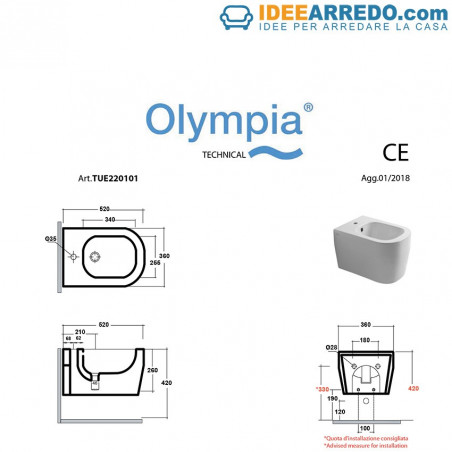 suspended bidet and toilet measures Tutto Evo Olympia Ceramica
