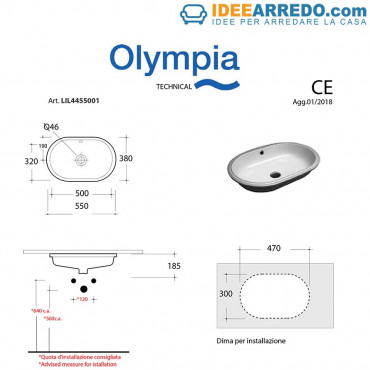 lavabo bagno ovale da incasso Olympia