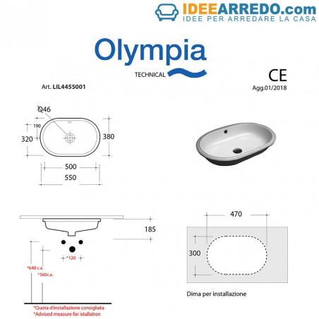 Lavabo encastrable ovalado Olympia
