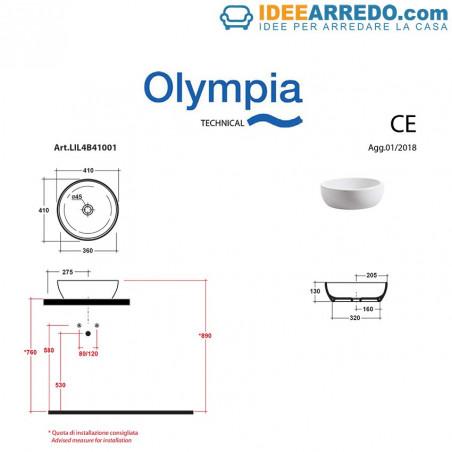 lavabo da appoggio misure Bacinello tondo 41 olympia