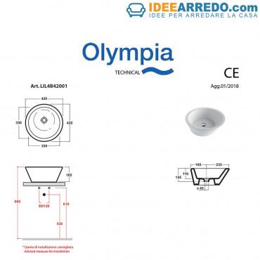 Lavandino appoggio tondo per bagno design 42 Olympia