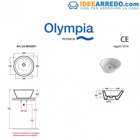 Olympia ceramic sink measures