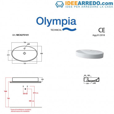 Lavabo da appoggio monoforo ovale 75 Olympia Ceramica