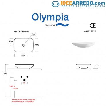 Modern rectangular countertop washbasin 54 Olympia