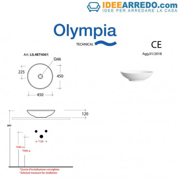 Lavabo tondo ciotola da appoggio bagno 45 cm Olympia