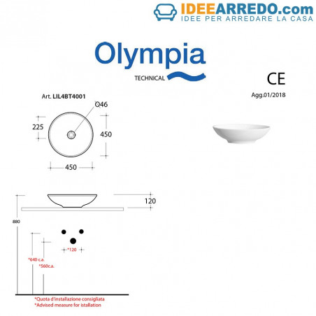 Olympia Ceramica bathroom sink measures