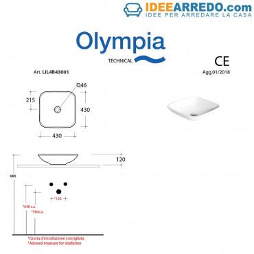Lavabo pequeño cuadrado sobre encimera 43 Olympia