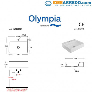 Lavabo da appoggio rettangolare - sospeso 60 cm Olympia