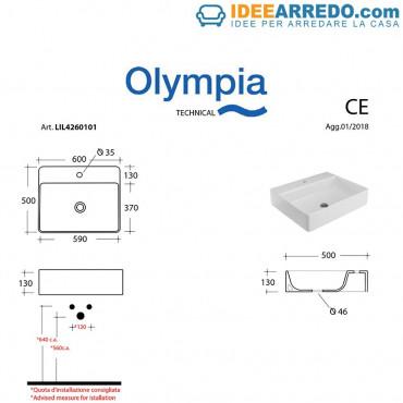 Olympia rectangular countertop washbasin 60 one hole