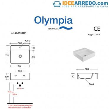 Olympia quadratische Waschtischplatte 50