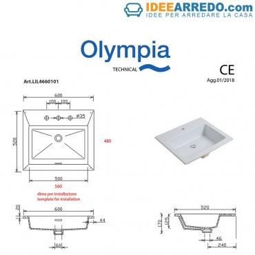 Lavabo incasso rettangolare 60 Olympia Ceramica