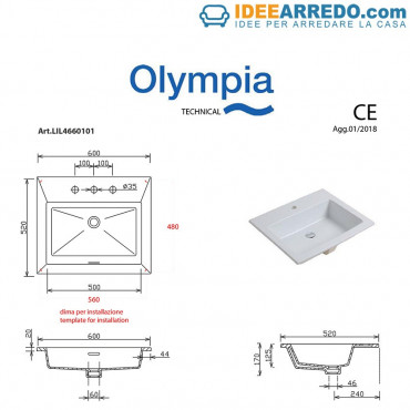 Olympia ceramica built-in sinks for bathroom