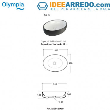 Countertop oval bowl washbasin 55 Metamorfosi Olympia