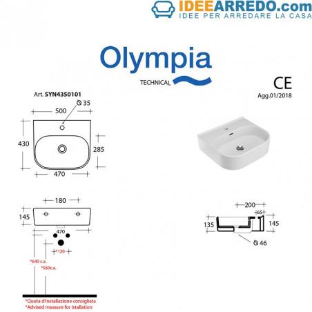 Dimensions du lavabo Synthesis 50