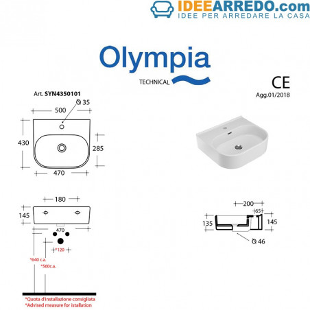 Synthesis 50 washbasin dimensions