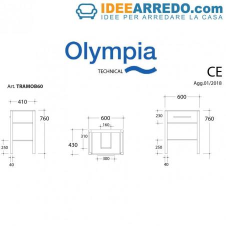 bathroom cabinet 60 cm technical sheet Tratto Olympia Ceramica
