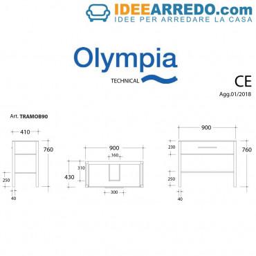 Armoire de salle de bain Olympia sous lavabo 90 cm