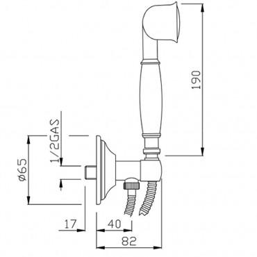 Kit de douche avec prise d'eau rétro AR193
