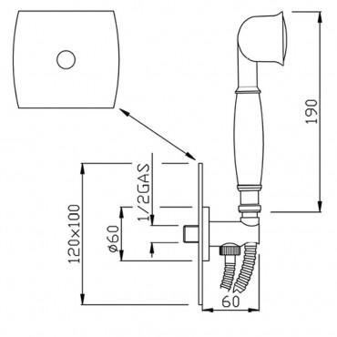 Kit de douche avec prise d'eau rétro CH193