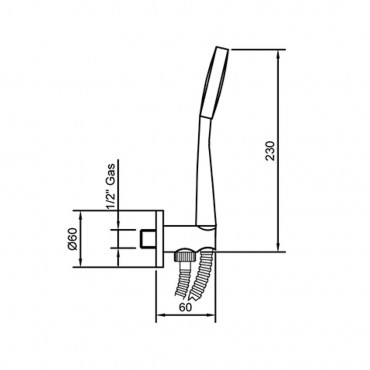 Kit doccia con presa acqua minimal KY193