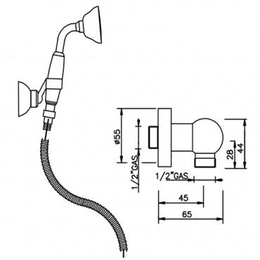 Kit de douche avec prise d'eau rétro LI194