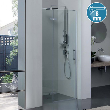 8mill Infinity shower enclosure with Colacril niche hinged door