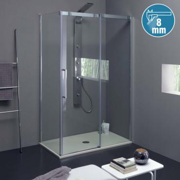 Cabine de douche d'angle à...