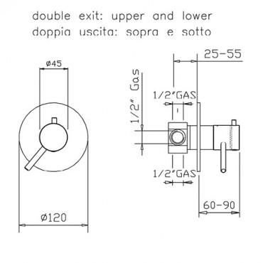 1-way coaxial thermostatic shower transform 2315TM Gaboli Flli