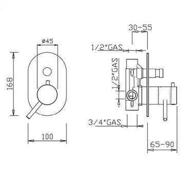 Doccia termostatica incasso 2 vie trasformabile 2330TM Gaboli Flli